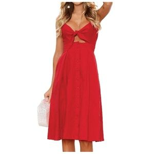 Red Sundress - Button down - Tie Front - Midi